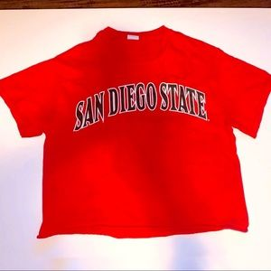 GILDAN San Diego State Red Cropped T-Shirt - S